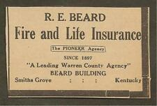 VINTAGE AD CLIPPED FROM NEWSPAPER - R.E. BEARD INSURANCE SMITHS GROVE, KY -1939