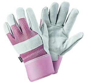 FZTEY Gardening Gauntlets Ladies , Reinforced Leather Heavy duty Thick Gloves ,