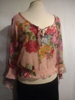 Woman's Top Size M Sheer Floral Blouse Cropped Pullover Peasant Boho Red
