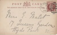 LONDON :1892  SW/15 numeral cancel on postal stationery card