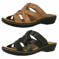 Ladies Clarks Leisa Bloom Black Or Beige Leather Casual Mule Sandals D Fitting