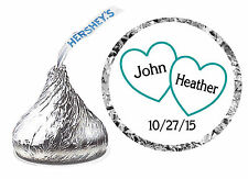 216 TEAL HEARTS WEDDING FAVORS HERSHEY KISS LABELS ~ PERSONALIZED