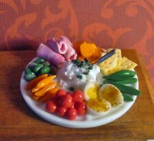 NEW DOLLHOUSE BUFFET PLATTER FILLED WITH VEGETABLES, MEAT, CHEESE, MORE