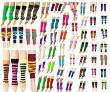 New Ladies Girls Teen 80s Disco Leg Warmers Plain Stripe Animal Print Dance Wear