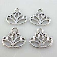 25pcs Tibetan Silver Charm Hollow Lotus Flower Pendants 15x17mm Jewelry Findings