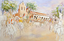 "William Papas ""Rancheros, Santa Ynez Valley"" Hand Colored Etching Art Print OBO!"