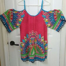 Flying Tomato Cold Shoulder Mini Dress Tunic Colorful Tribal Print Womens Small
