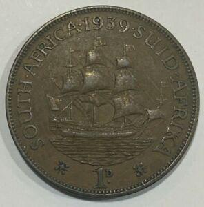 1939 South Africa 1 Penny 1d 'Dromedaris' Sailing Ship Coin