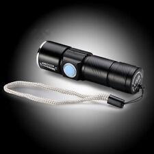 Linterna LED USB Recargable Negro Súper Brillo 3 Modo Ajustable Haz Enfoque Zoom