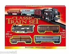 Classic Train Set Track Carriage Tanker Engine Battery Operated Light Sound Kids