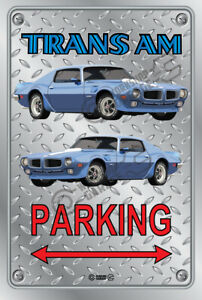 Parking Sign Metal - Checkerplate Look - PONTIAC TRANS AM 1970 BLUE