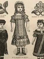 MODE ILLUSTREE SEWING PATTERN Dec 4,1881 DOLL outfits patterns