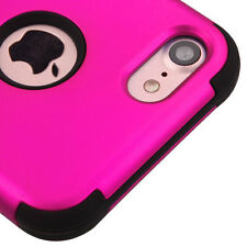 For iPhone 7 / 8 - HARD&SOFT Rubber Hybrid Armor Skin Case Cover Hot Pink Black