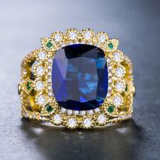 Luxury Women 4 Colors Gemstone 18k Yellow Gold Filled Wedding Ring Size 6-10