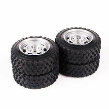 4X 68mm Rubber Rally Tire Wheel Rims Set 12mm Hex For HPI HSP 1:10 RC Car 11083