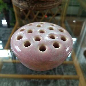 Vintage Weller Pottery Pink Mottled Gray  16 Hole Flower Frog Unmarked