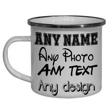 Personalised Enamel Coffee Mug Camping Mug Any Text Any Photo  Enamel Coffee Mug