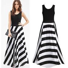 Women Evening Prom Party Long Dresses Lady Summer Sleeveless Maxi Dress Striped