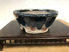 "Shohin Mame Or Accent Size Bonsai Tree Pot Made By Terumi 3 3/8"" Blue Glazed"