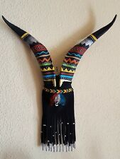 Goat Horns Decorated Southwest Decor Wall Art Native American Inspired