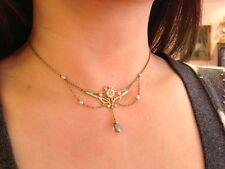 14K Art Nouveau Festoon Sapphire Aqua Dia & Pearl Necklace  w/ Enamel - HM925