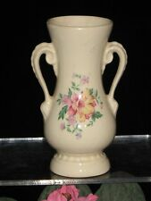 "Vintage ROYAL COPLEY Pottery IVORY Handled VASE Peony Rose DESIGN 6 1/4"" TALL"