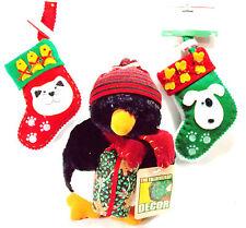 "Plush Penguin 8 "" Christmas Trimmery Decor Plus Cat & Dog Ornament Stockings"