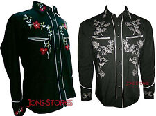 BLACK COWBOY ROCKABILLY LINE DANCING WESTERN STYLE EMBROIDERED SHIRT Small- XXXL