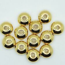 Cushion Donut 14x8mm Metalized Large Hole Beads Bright Gold Finish pk/12