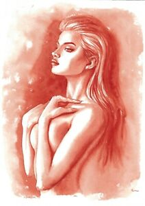 original painting А3 536ShA art samovar realism watercolor female nude grisaille
