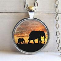 Vintage Elephant Cabochon Tibetan silver Glass Chain Pendant Necklace @G102
