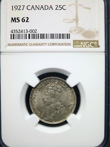 1927 Canada 25C Silver Quarter NGC MS62 FRESH BETTER DATE!