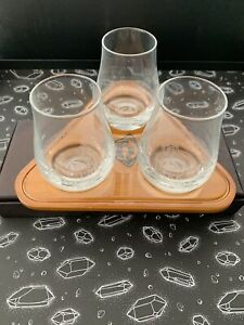 Set of 3 Highland Park Whisky Glasses And Wooden Serving Tray