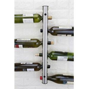Wall Wine Bottle Holder Home Kitchen Bar Display Storage Silver Wine Rack 12Hole