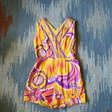 Vintage 1960s Psychedelic Yellow Shorts Sleeveless Romper Size Small Medium 6 8