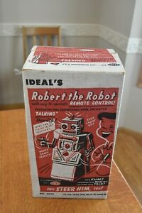 vintage 1950's original Ideal Toy Robert The Robot No. 4049 remote control w box