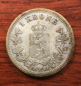 1888 Norway 1 Krone Silver Coin