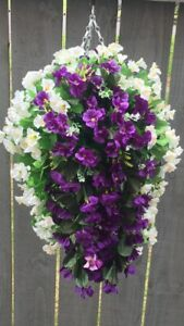 Beautiful Artificial  Morning Glory Ivory / Purple Hanging Basket Ready To Hang