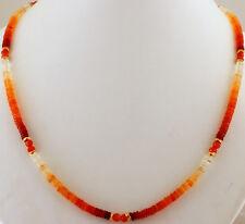 Fire Opal Necklace Precious Stone Exclusive Discs Orange Carnelian Approx.