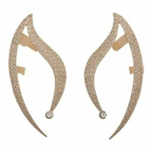 STAR TREK SPOCK VULCAN EAR CUFF METALLIC GOLD EARRINGS SET RHINESTONE COSPLAY