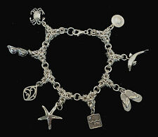Chainmaille Sterling Silver Byzantine Beach Charm Bracelet. 7 inches.