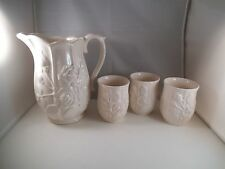 Vintage L & M Lipper Mann White Rose Ceramic Pitcher & Tumblers Cups