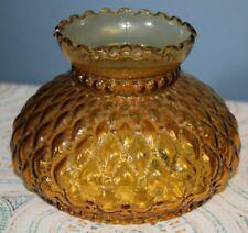 """Vintage Kerosene Lamp Shade, Amber Glass Ruffled top. 5.75"""" fitter Diamond Quilt"""