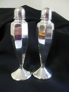 1930s Art Deco Perfection Silver Plated Salt and Pepper Shakers A1 EPNS