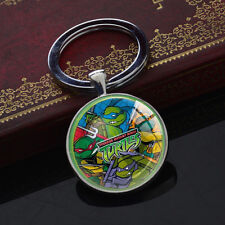 Teenage Mutant Ninja Turtles TMNT Keychains Silver Glass Pendant Keyring Charm