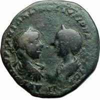 ELAGABALUS & JULIA MAESA Ancient 218AD Marcianopolis Roman Coin HOMONOIA i78858
