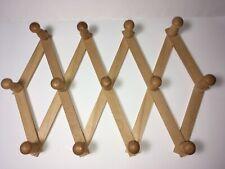 Wooden Folding Expandable Accordion Style 13 Peg Jewelry Scarf Hat Mug Wall Rack