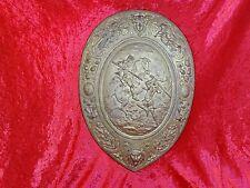 Antik Relief Platte Ritter im Kampf Reiter Pferd Depose Metallplatte Schild