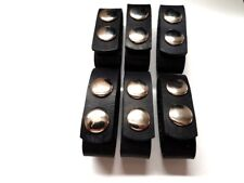 POLICE SECURITY GUARD REAL LEATHER  BELT KEEPER WITH SNAPS 6-PACK PLAIN BLACK