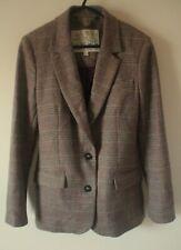 Jack Wills Blazer Jacket UK 8 Womens Brown Tweed Wool Tailored & Fitted Flawless